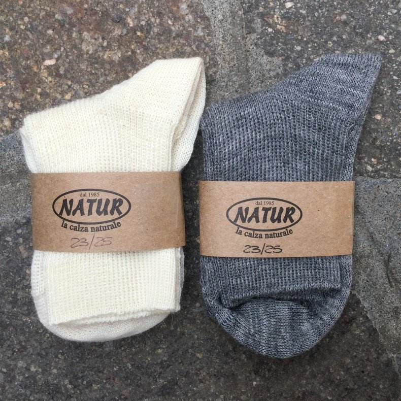 Short socks in organic wool and organic cotton