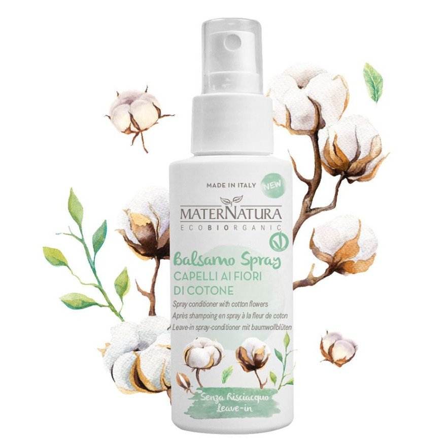 Leave-in spray conditioner with cotton flowers