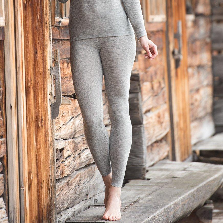Leggings donna Grigi in lana bio e seta