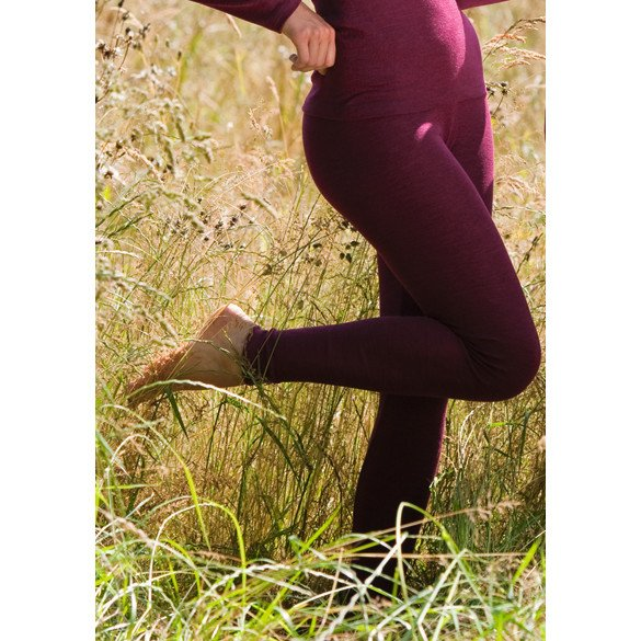 Leggings donna lana biologica/seta vinaccia, lavabili in lavatrice