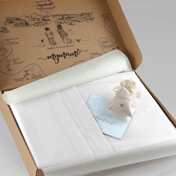 Lenzuola letto Matrimoniale Mymami in cotone bio Bianco Neve
