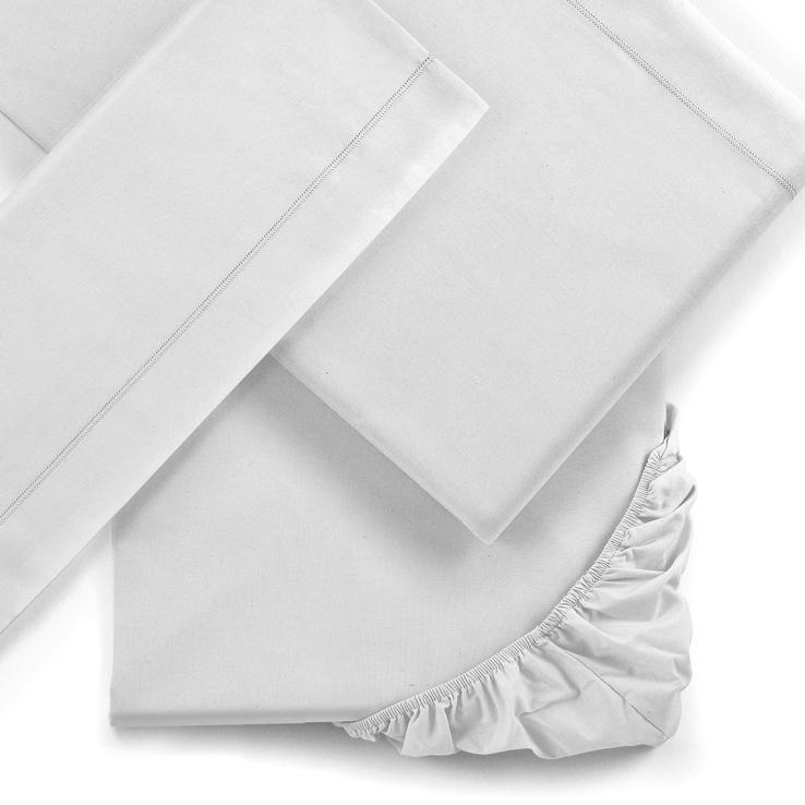Lenzuola letto Singolo Mymami in cotone bio Bianco Neve