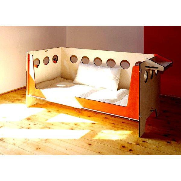 Lettino trasformabile con futon in legno naturale