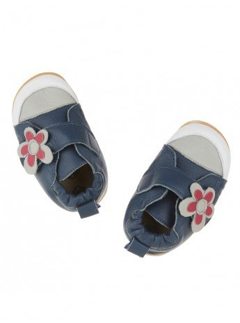 Toddler shoes Navy with flower with flexi sole in rubber