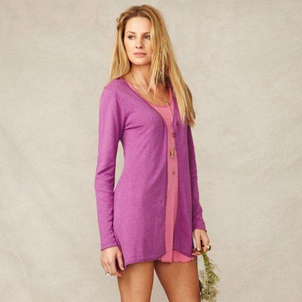 Knit long cardigan Adria in hemp