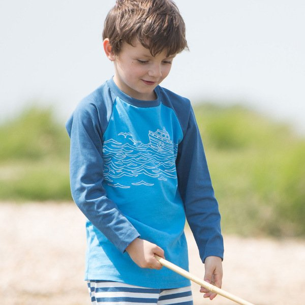 Shirt long sleeve boy fishing trip organic cotton