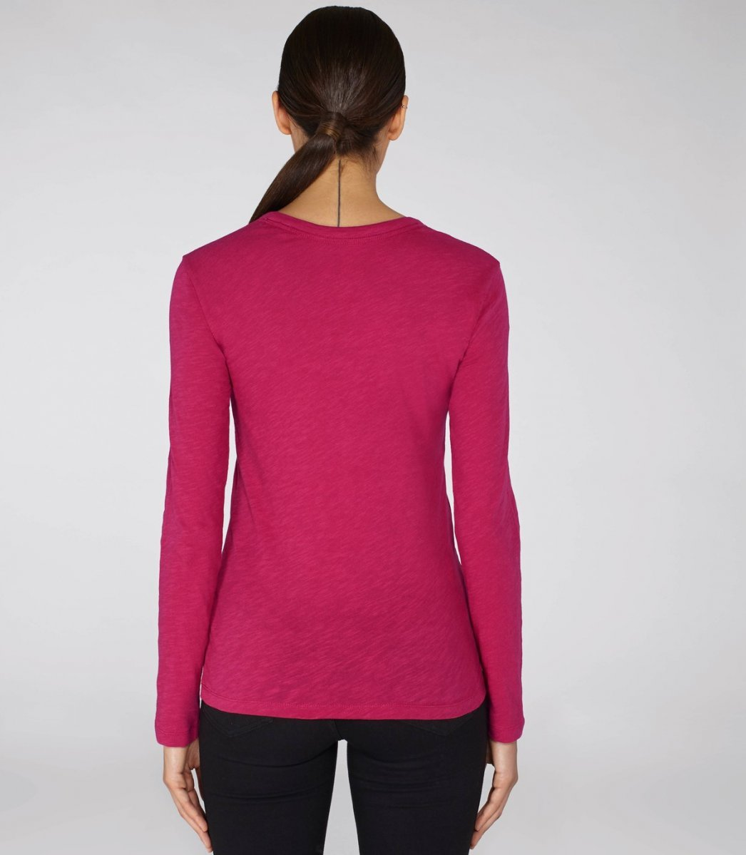 20d0999681c3 Long sleeve round neck woman tee-shirt Raspberry - AltraModa