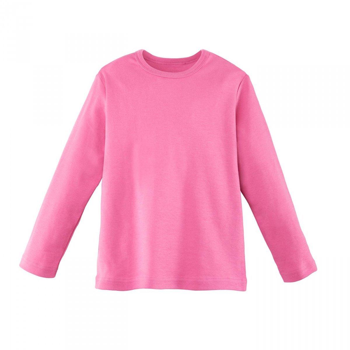 Long sleeve pink shirt girl in organic cotton