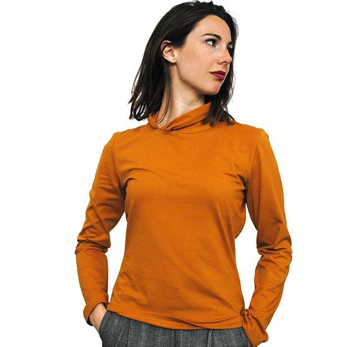 Long sleeve woman shirt Mustard in fair trade organic cotton
