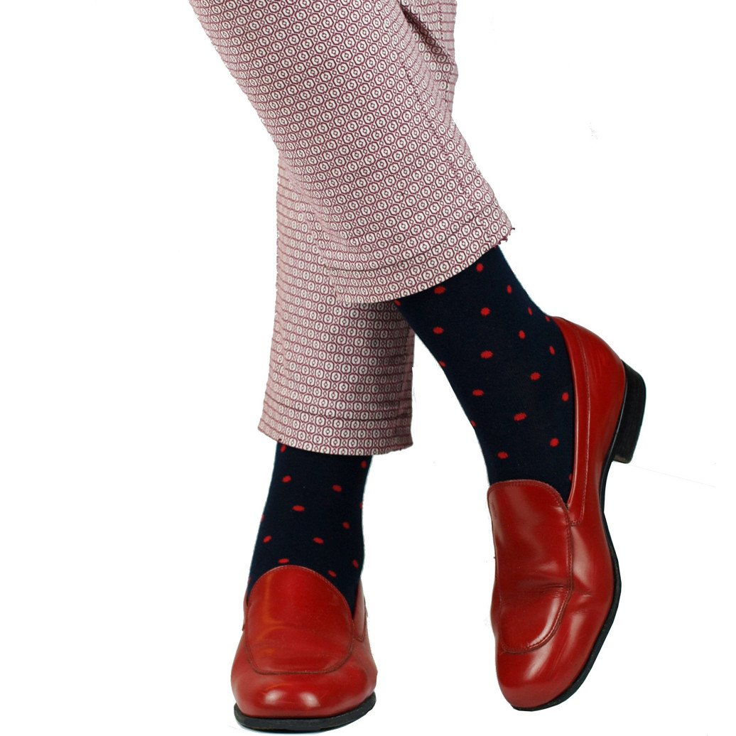 Long Sock 100% Bamboo Navy with red dots