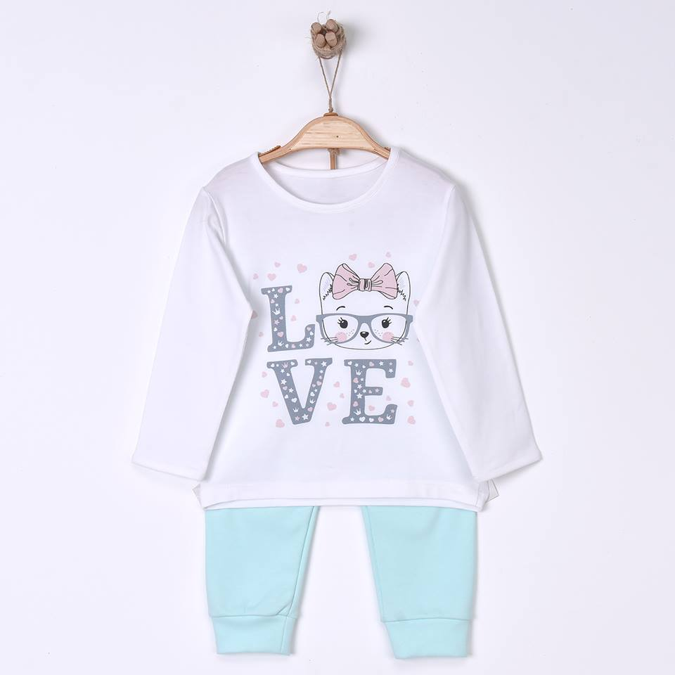 Love Cat Children's Organic Cotton Pajamas