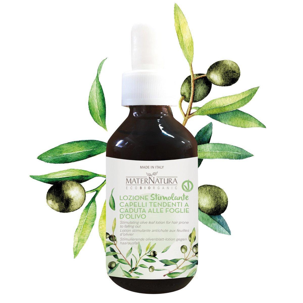 Lozione stimolante capelli tendenti a caduta alle foglie d'olivo