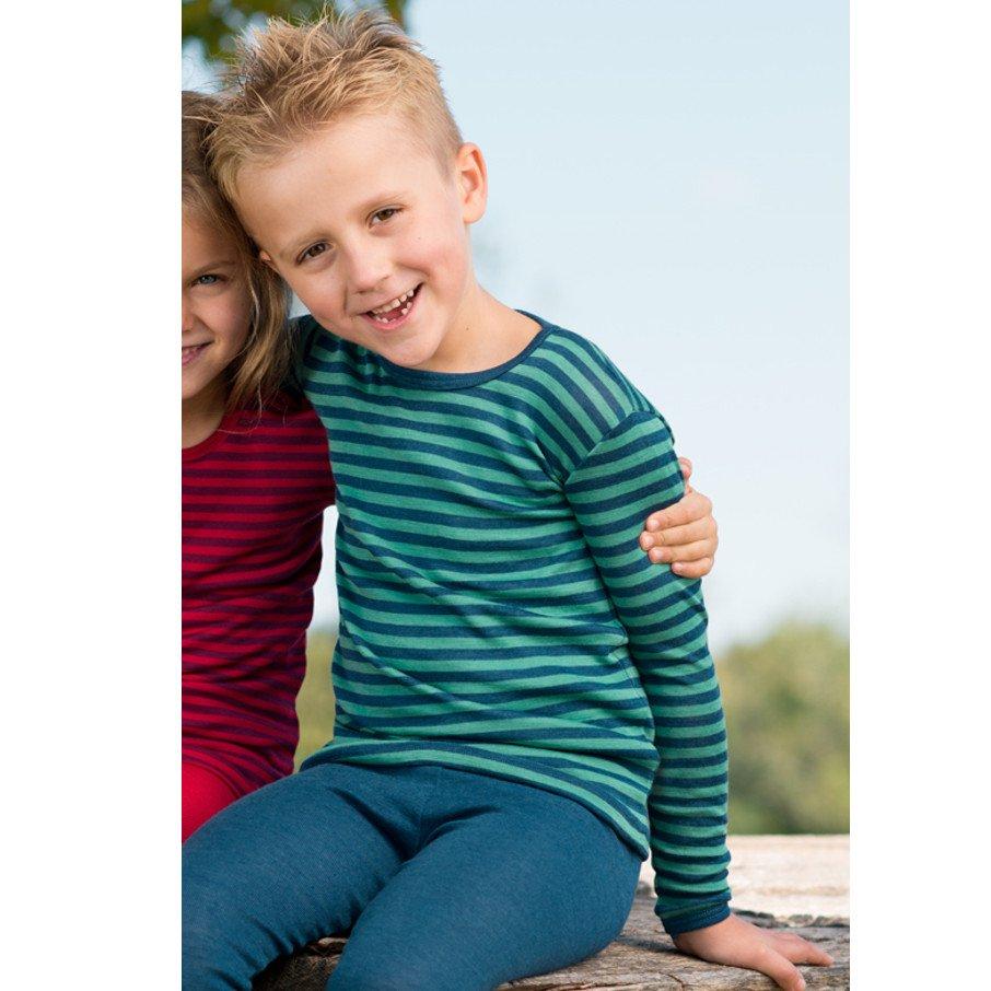 Maglia bambini in lana bio e seta righe manica lunga lavabile lavatrice