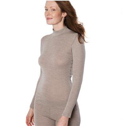 Maglia donna collo lupetto in lana e cotone biologico