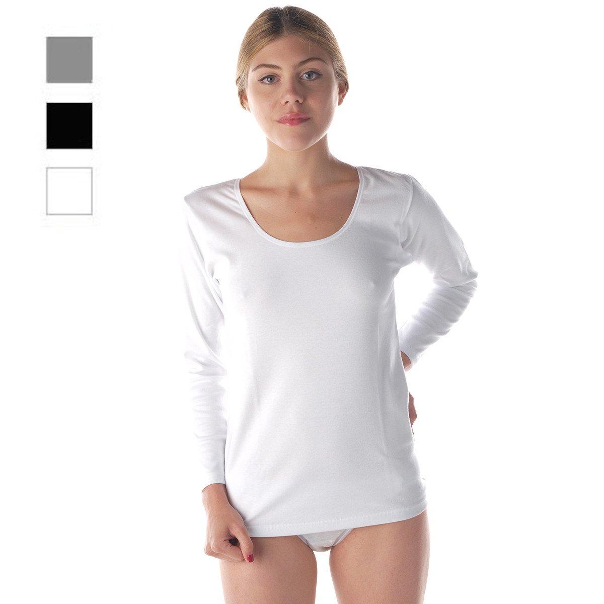 promo code 8cbef 7801d Maglia donna manica lunga puro cotone termico invernale ...