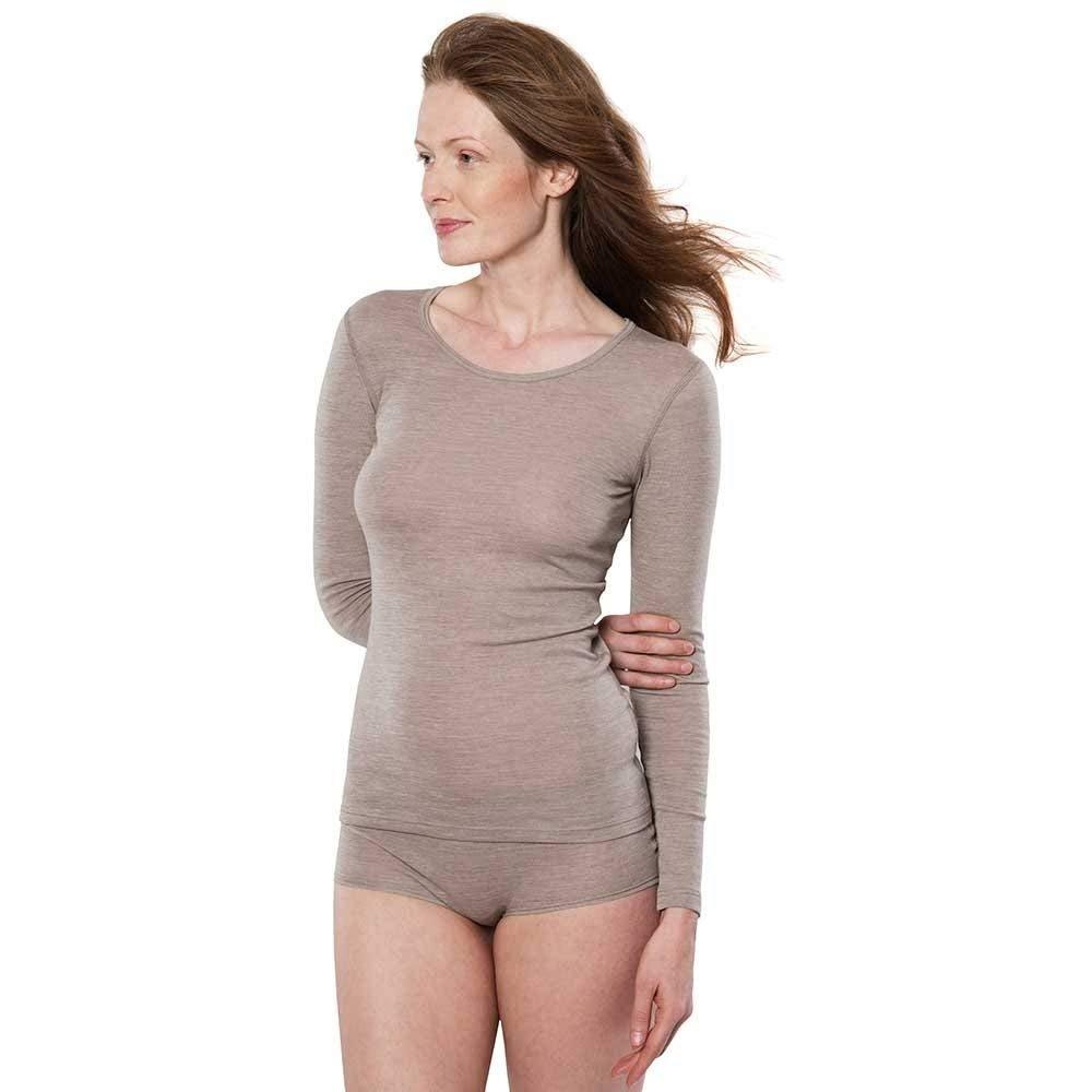 Maglia donna maniche lunghe in lana e cotone biologico
