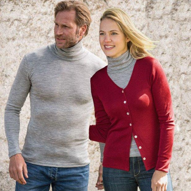 Maglia unisex collo alto in lana biologica e seta GRIGIO