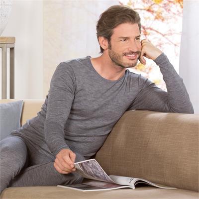 Maglia uomo in lana e cotone biologici manica lunga