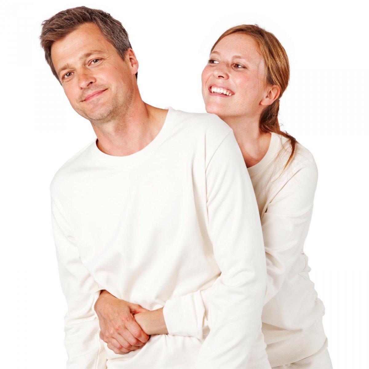 Man natural white pyjamas with cuffs in organic cotton