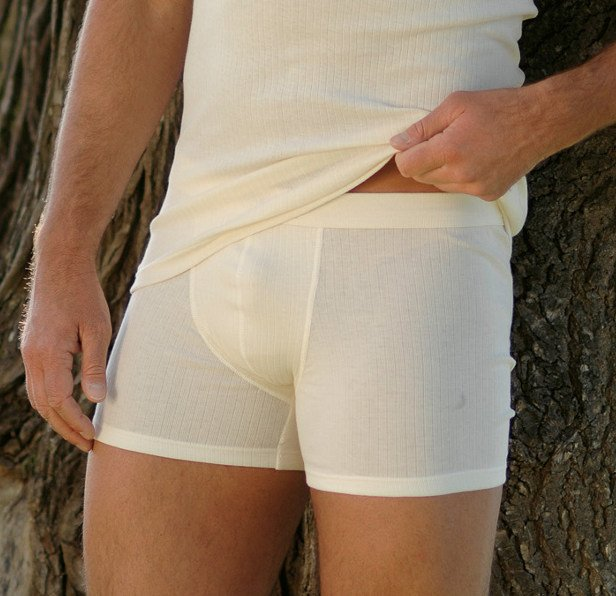 Men's boxer in undyed ribbed organic cotton