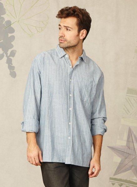 Men shirt blue stripes in hemp