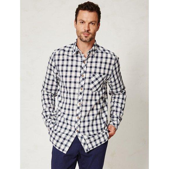 Huckle check shirt in hemp