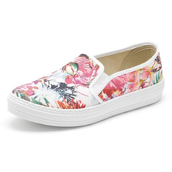 Summer mocassin flowers print in organic cotton canvas