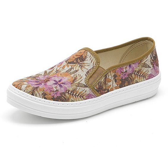 Summer mocassin flower in organic cotton canvas