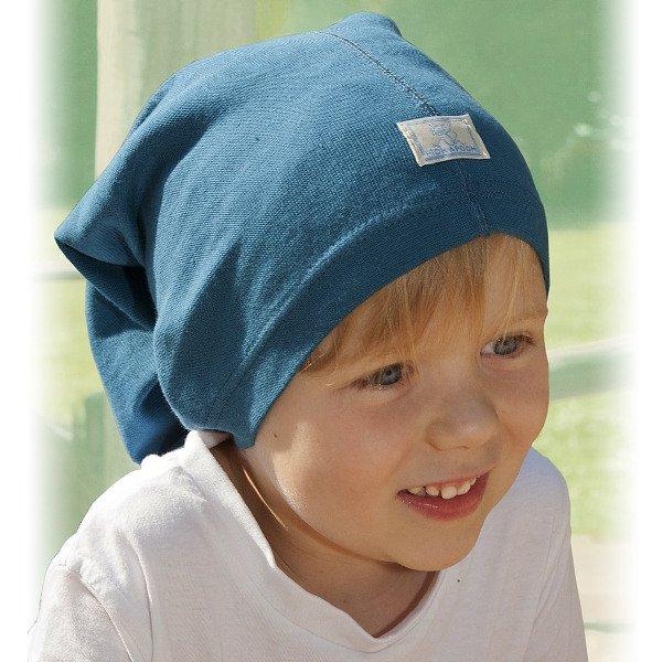 Multipurpose light blue hat in organic cotton
