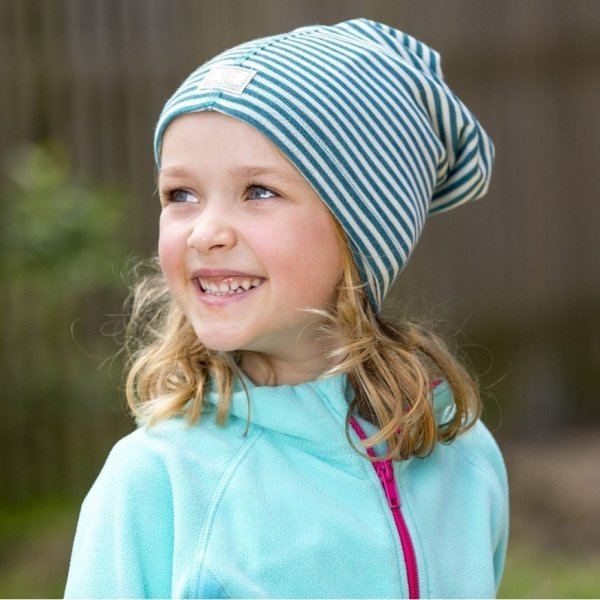 Multipurpose striped hat in organic cotton