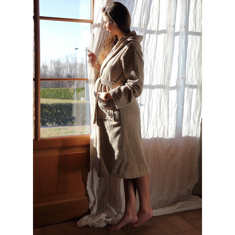Mymami hazelnut hooded bathrobe in organic cotton