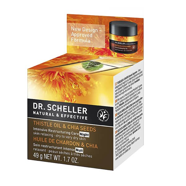Night cream for dry skin with Thistle Oil and Chia Seeds organic - Dr. Scheller