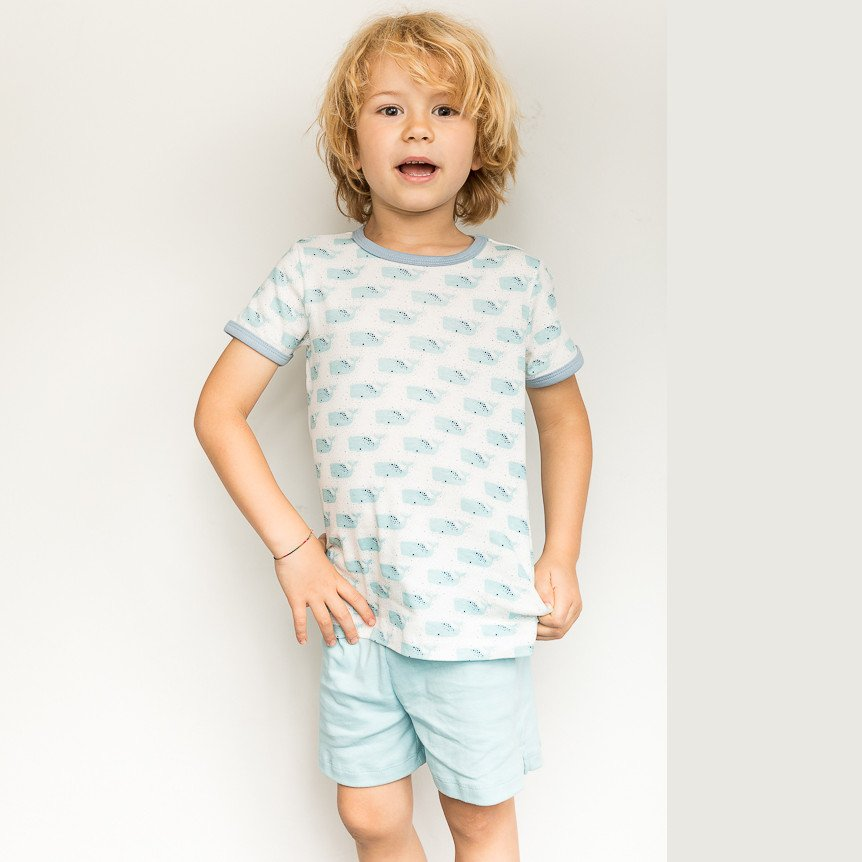 Fairtrade Short Pyjama with whale in organic cotton