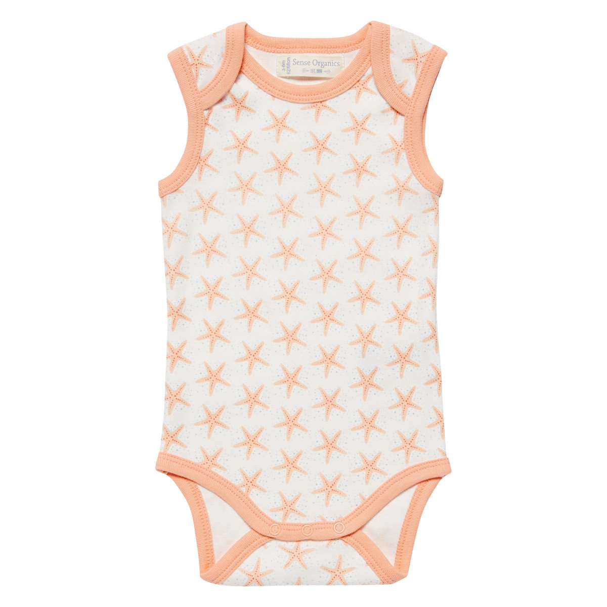 Baby Body Sleeveless with starfish in organic cotton