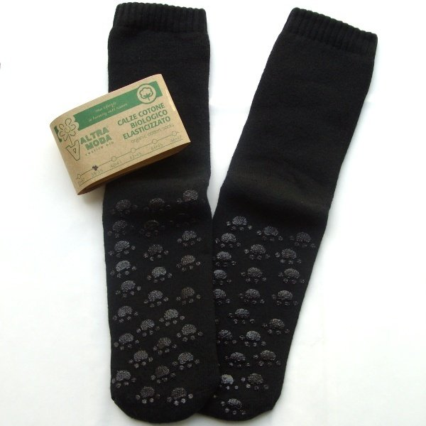 Non-slip terry black socks in organic cotton