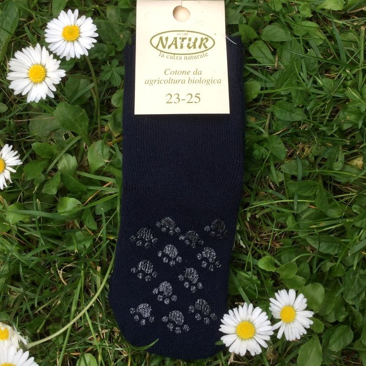 Non-slip terry blue socks in organic cotton