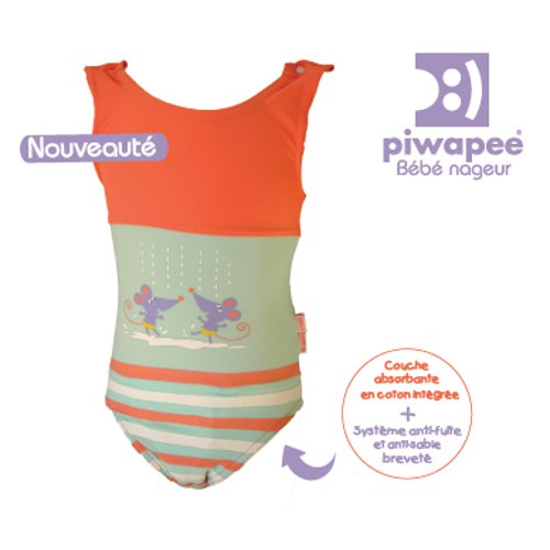 One piece swimming suite diaper Piwapee Mouse