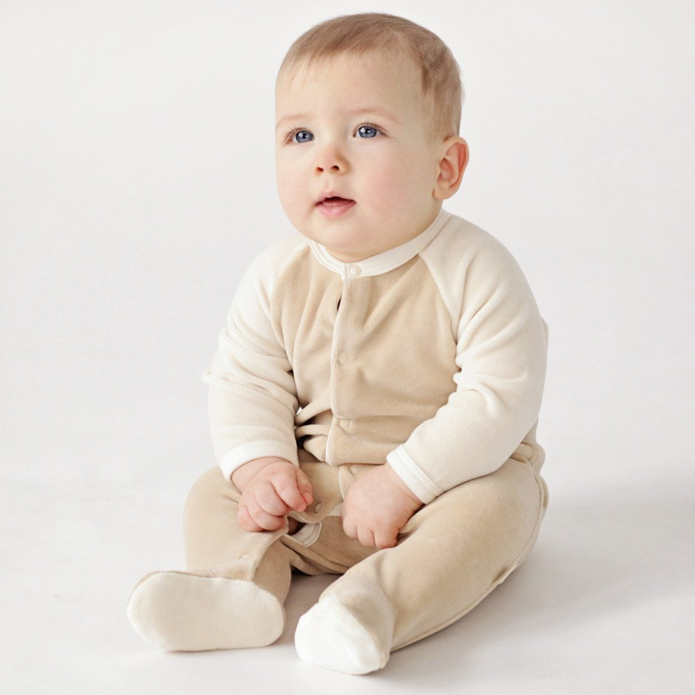 Baby sleepsuit Wooly Organic in organic cotton velour