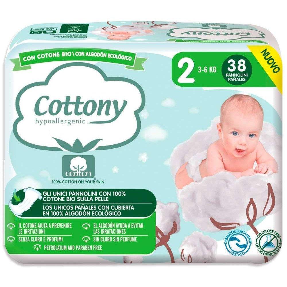 Pannolini Cottony con Cotone Bio - 2 Mini 3/6 kg 38 pezzi