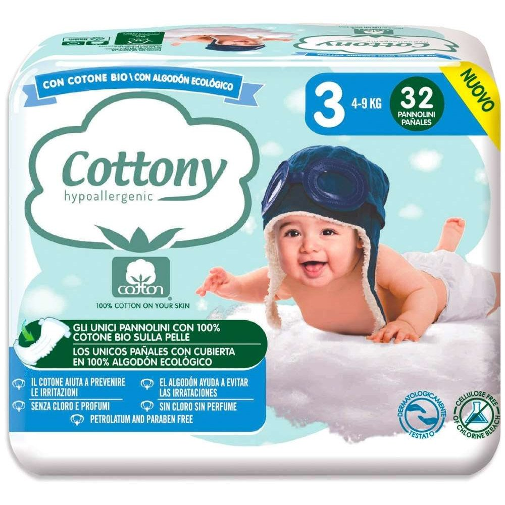 Pannolini Cottony con Cotone Bio - 3 Midi 4/9 kg 32 pezzi
