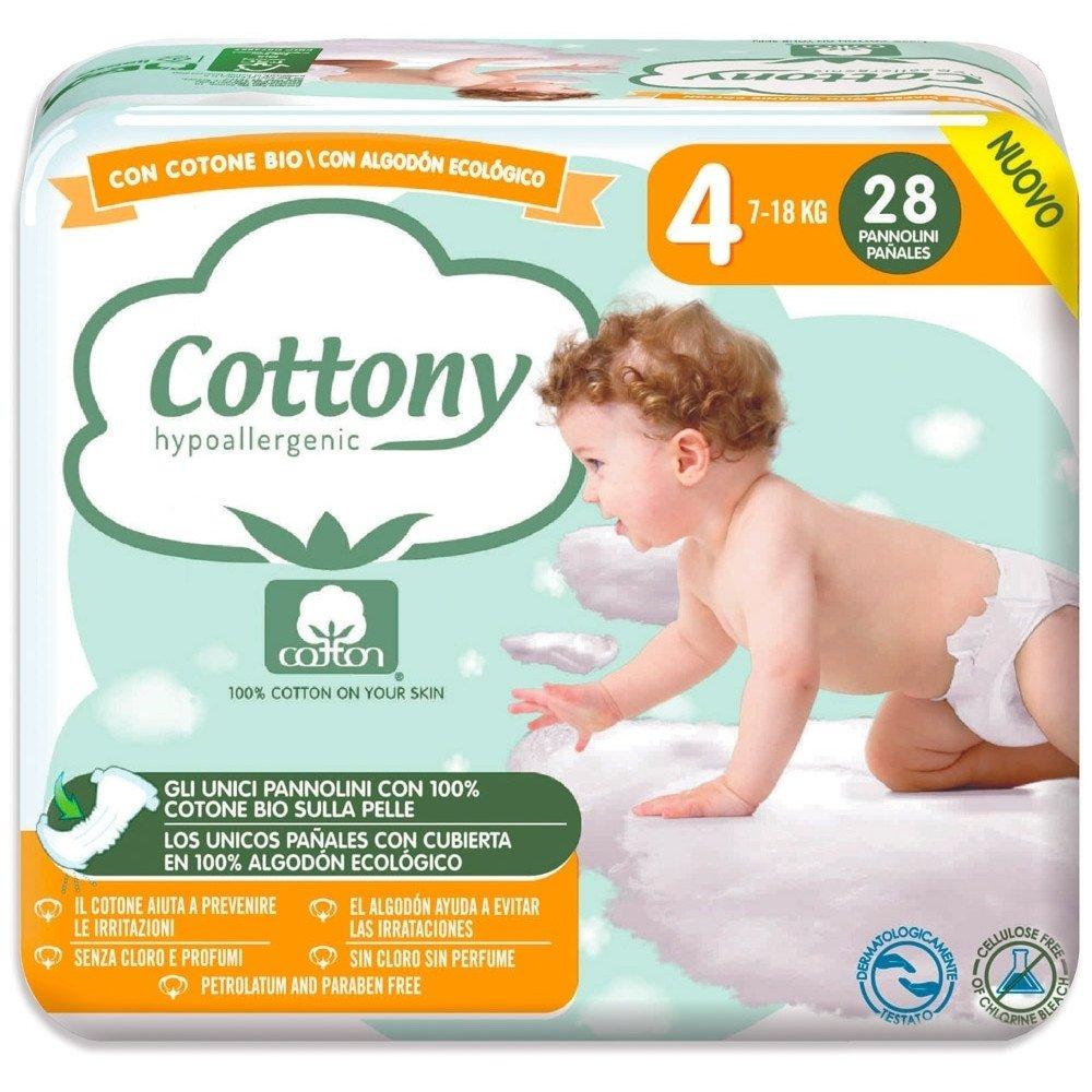 Pannolini Cottony con Cotone Bio - 4 Maxi 7/18 kg 28 pezzi