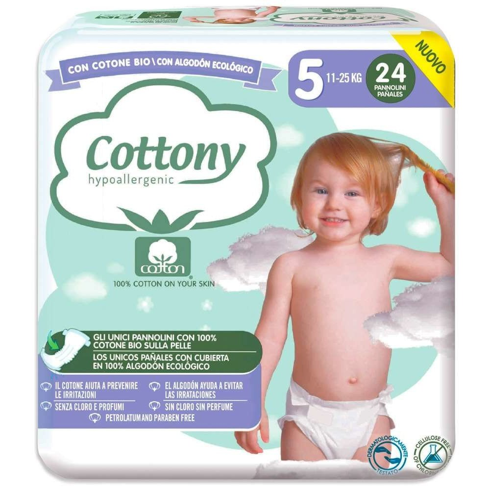 Pannolini Cottony con Cotone Bio - 5 Maxi 11/25 kg 24 pezzi