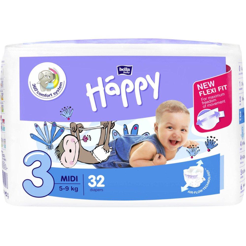 Pannolini Happy BellaBaby - 3 Midi 5/9kg 32 pezzi
