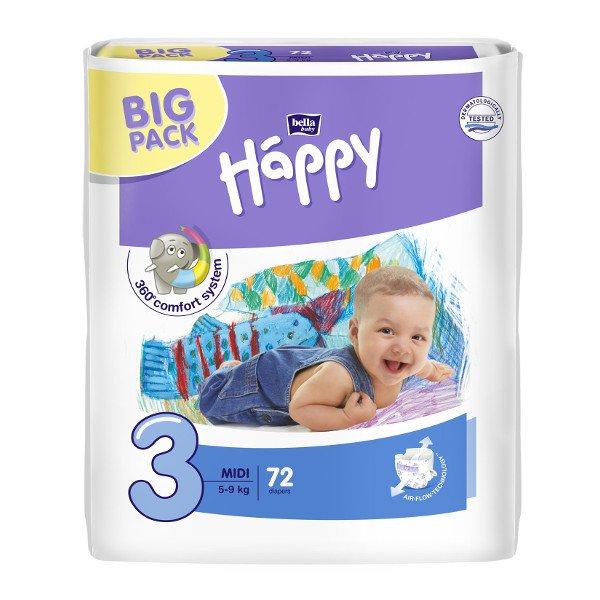 Pannolini Happy BellaBaby - 3 Midi 5/9kg 72 pezzi