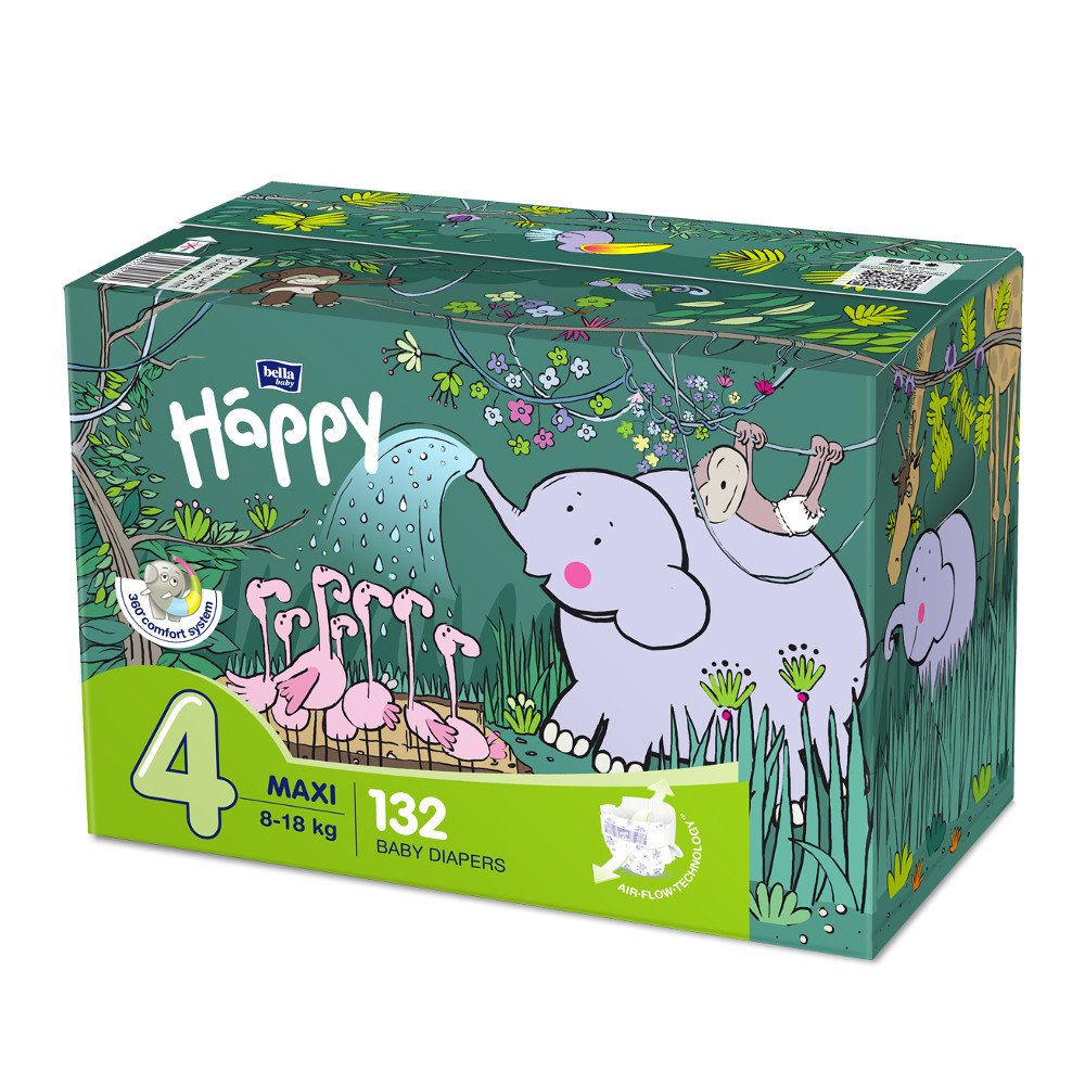 Pannolini Happy BellaBaby - 4 Maxi 8/18kg box 132 pezzi