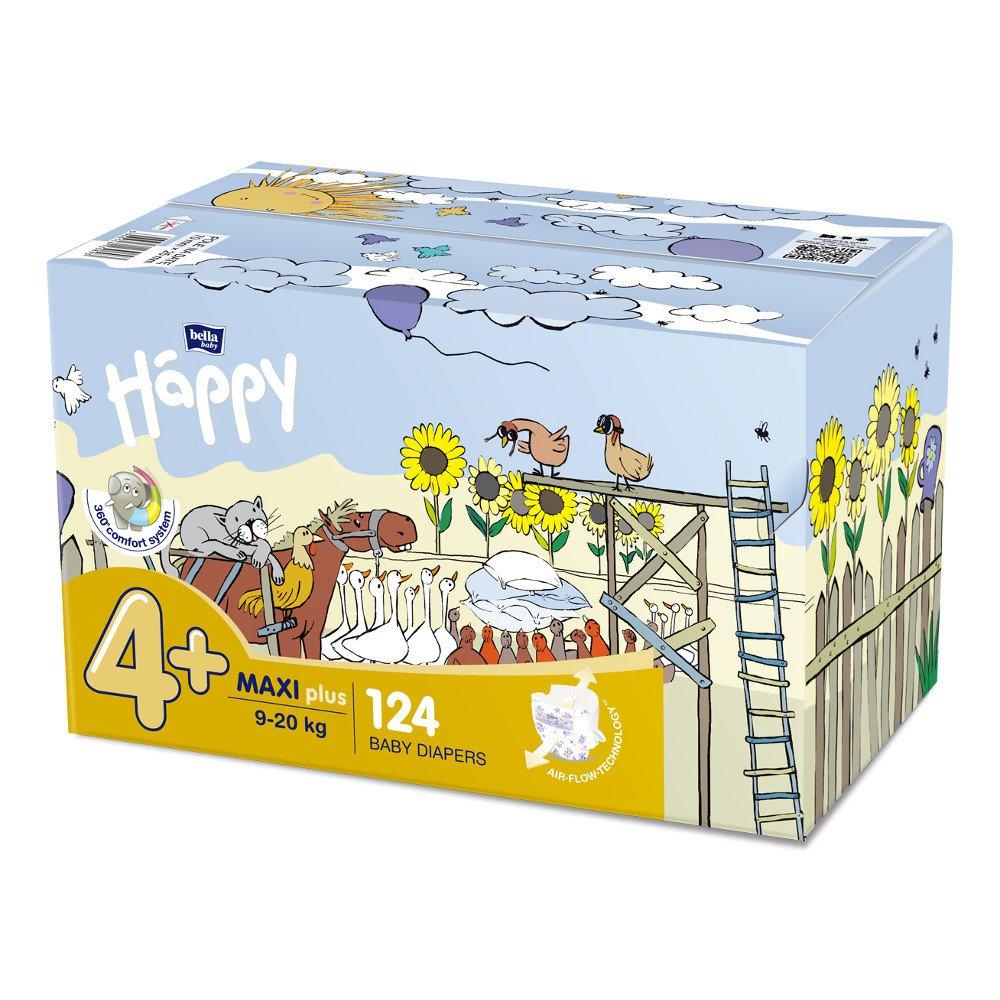 Pannolini Happy BellaBaby - 4+ Maxi plus 9/20kg box 124 pezzi