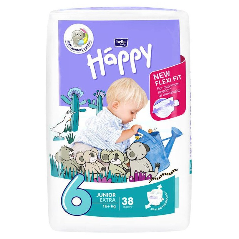Pannolini Happy BellaBaby - 6 Junior extra 16+kg 38 pezzi