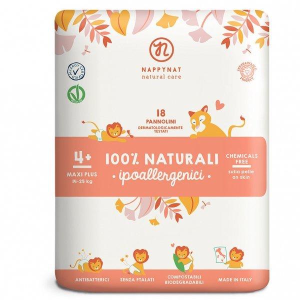 Pannolini Nappynat Biodegradabili 4+ Maxi Plus 14/25 kg 18 pezzi