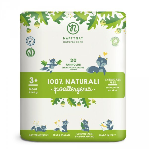 Pannolini Nappynat Biodegradabili 3+ Maxi 10/16 kg 20 pezzi