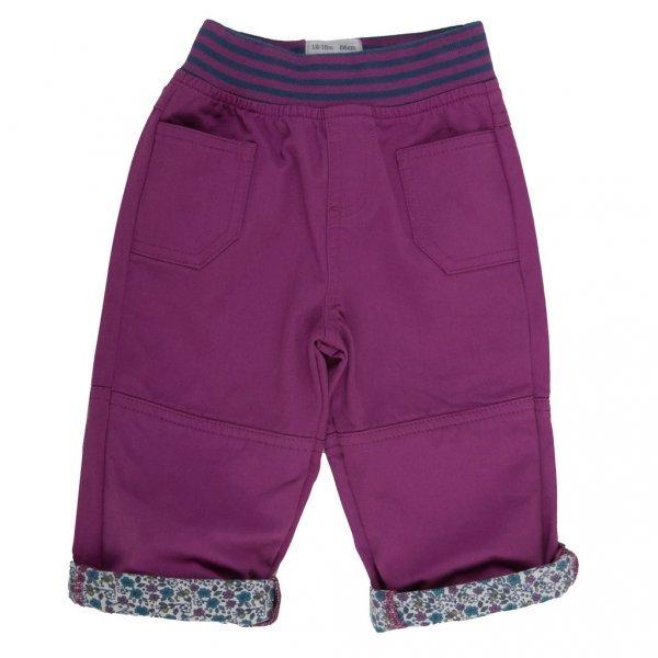 Pantaloni bambina viola in cotone bio